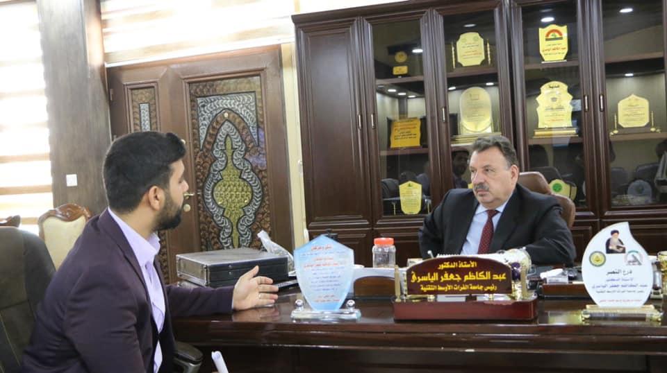 الياسري يعقد الجلسة الثانية لمقابلات المنتسبين والطلبة  إعلام الجامعة